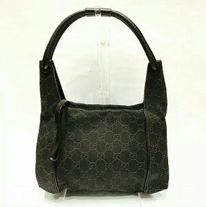 Auth Gucci dark brown small hobo bag